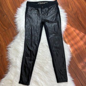 American Eagle Faux Leather Panel Front Jegging 2